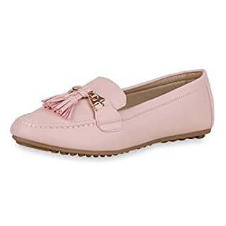 SCARPE VITA Damen Slippers Quasten Mokassins Leder-Optik Business Flats Schuhe 162636 Rosa 37