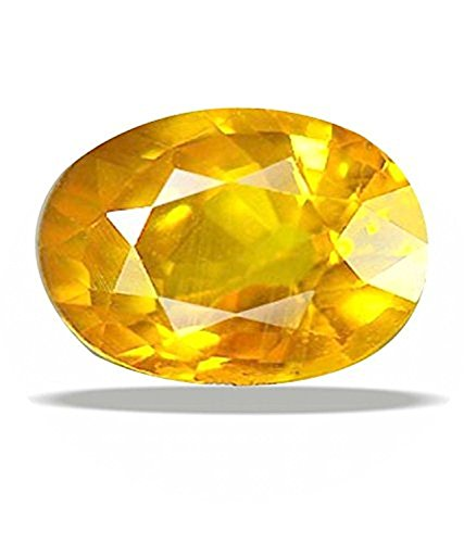 Yellow sapphire (Pukhraj) 6.25 ratti Certified Natural Rashi Ratan Gemstone For Astrological Purpose By Akshay Gems