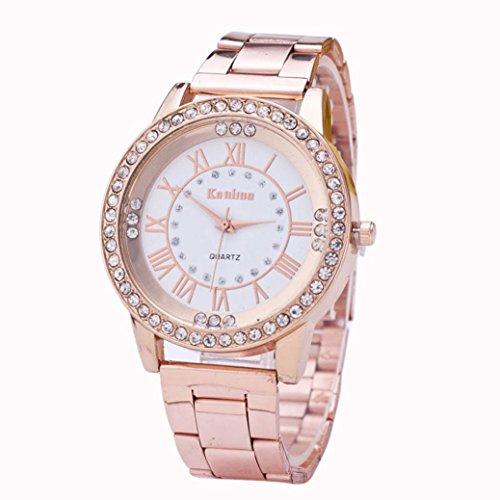 Foto de FAMILIZO Mujeres Hombres Elegante Moda De Cristal Rhinestone De Acero Inoxidable Reloj De Cuarzo Analógico De Cuarzo (Oro rosa)