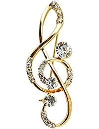 Silver Shoppee Musical Chord 18K Yellow Gold Plated Cubic Zirconia Studded Alloy Brooch for Girls and Women