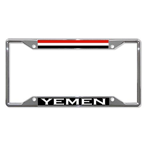 Preisvergleich Produktbild Yemen-Flagge,  Metall,  für Nummernschild,  4 Löcher,  perfekt für Männer und Frauen,  Auto-Garadge Dekor