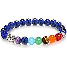 D&M Jewelry 1 Hilo de Brazalete de 7 Chakras de Yoga de Piedra Preciosa, Pulsera Energética de Curación