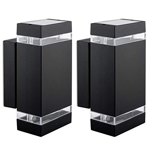 2 Stück LED Wandlampe Up & Down schwarz - mit 2x LED GU10 3W 230V neutralweiß - 2 flammige Wandleuchte modern Wandstrahler IP44