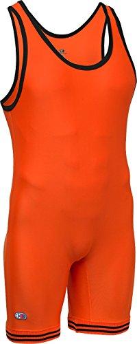 Cliff Keen Die Collegiate Kompression Gear Wrestling Singlet, orange/schwarz, XX-Large