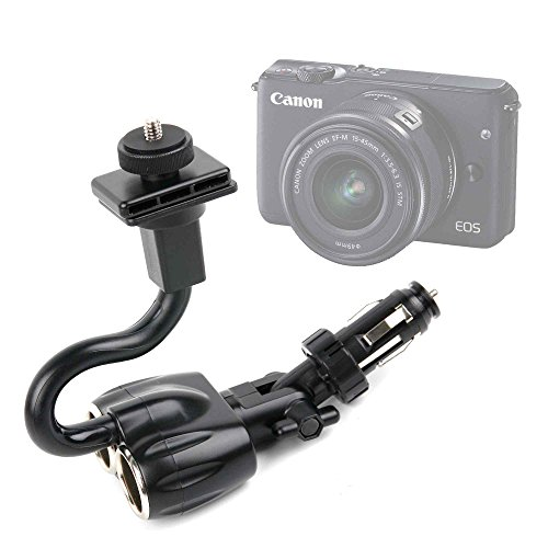 DURAGADGET Supporto Accendisigari Auto Per Fotocamere Camera Easypix W1024 Full HD | Fujifilm FinePix XP120 | X100F | Nikon A10 Coolpix Silver | Coolpix A100 - Spazio Per Carica Di Altre 2 Dispositivi