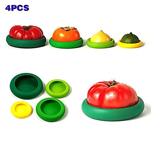 Maphissus Set of 8 Food Huggers Silicone Food Savers Stretch Lids,Storage Cover for Fruit and Vegetable ,Bowls,Cups,Containers,