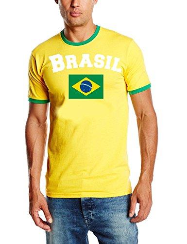 Brasilien T-Shirt Ringer gelb, Gr.L