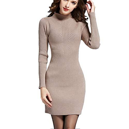 QUNLIANYI Bendkleid Tüll Lang Pullover Kleider Für Frauen Herbst Warm Langarm High Neck Primer Kleid Weiche Kabel Stricken Kleid Strickwaren (Stricken Elfenbein-kabel Pullover)