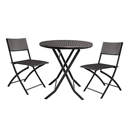 HAOHAODONG 2pcs Arm Chairs 1pc Round Couchtisch Rattan Chair Set Braun, Möbel Bistro Set-Patio Möbel Set - Patio-möbel Braun