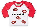 KLEINER FRATZ Baby Langarm T-Shirt (Farbe Weiss-Rot) (Gr. 6-12 Monate) Oma War da