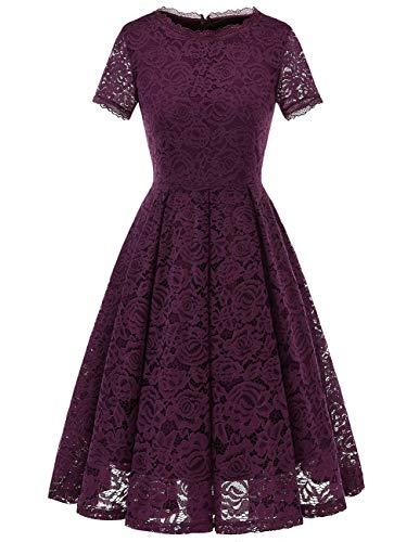 DRESSTELLS Damen Midi Elegant Hochzeit Spitzenkleid Kurzarm Rockabilly Kleid Cocktail Abendkleider Grape 3XL