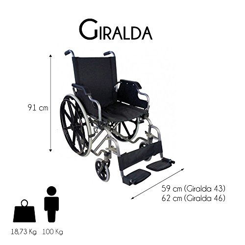 41mbwl1hgkL - Silla de ruedas | Plegable | Ruedas grandes | Ortopédica | Reposabrazos abatibles | Negro | Giralda | Mobiclinic