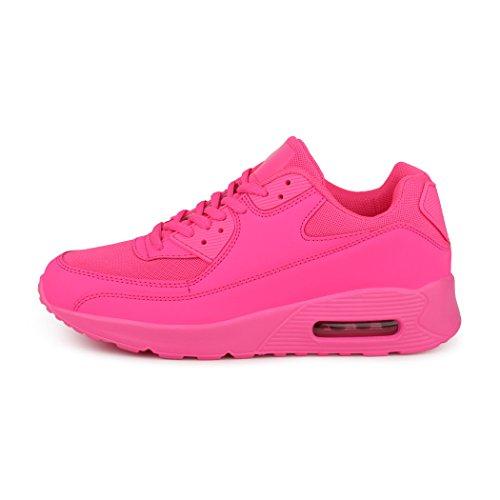 best-boots Unisex Damen Sneaker Fitness Laufschuhe Turnschuhe Runners Neu Neon-Pink 5