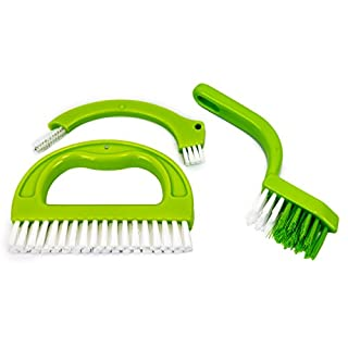 3 in 1 Grout Brush Tile Cleaning Tool Kitchen & Bathroom Scrubbing Brush Cleaner Stiff Angled Bristles Make Cleaning Joints and Grooves Easy! Small Cleaning Tool Brushes Removes Mould Dirt & Grime