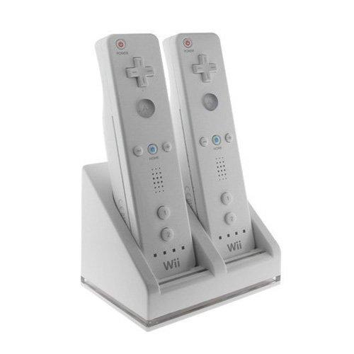 SODIAL(Wz.) Hochwertig Dual-Ladestation mit LED-Licht Plus 2 Wiederaufladbare Akkus mit hoher Kapazitaet u. USB Kabel fuer Nintendo Wii Fernbedienung Hohe Kapazität Licht