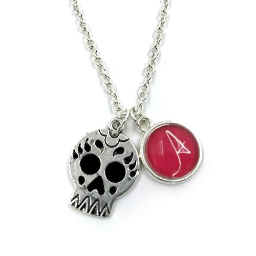 Butterfly N Beez Versilbert Sugar Skull Halskette| Personalisierte Halskette| Initial Charm| Monogramm| Totenkopf| Tag der Toten| Dia de Los Muertos| Zuckerschädel