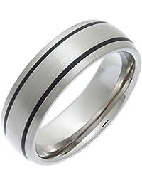 Theia Unisex-Ring Titan und Emaille-Inlay Court Matt 7mm