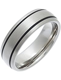 Theia Titanium and Enamel Inlay Court Matt 7 mm Ring