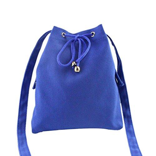 ZARU Frauen-Segeltuch-Drawstring-Handtaschen-großer Tote-Geldbeutel (Blau) (Drawstring Große Handtasche)