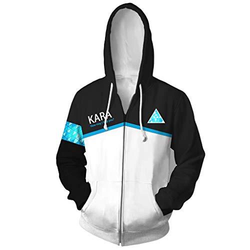 Yujingc Herren Jacke Hoodie Sweatshirt Zip Up Langarm Bedruckte Hoodies 3D Anime Detroit Werden Sie Mensch Grafik Jumper Sportswear,White,L