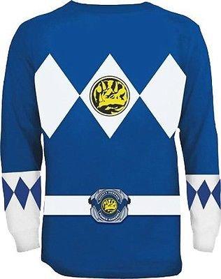 The Power Rangers Long Sleeve Ranger Kostüm Blau T-shirt (X-Large) (Schwarz Mighty Morphin Power Rangers Kostüm)