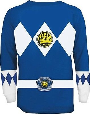 The Power Rangers Long Sleeve Ranger Kostüm Blau T-shirt (Samurai Kostüm Power Ranger)