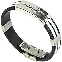 Contever® Bracciale Braccialetto Wristband in Silicone Regolabile Acciaio Inox per Gli Uomini - Bianca - Placcato Ciondolo Delfino