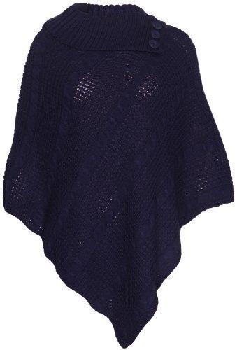 Schulter Cape (Damen Cape-Schal langer Strickpullover mit Rollkragen gefalteter Jumper Damen-Poncho Top Einheitsgröße - Einheitsgröße, Marineblau)
