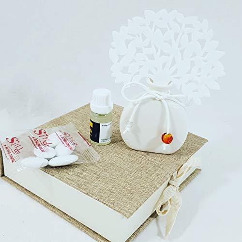 Bomboniere utili profumatore/diffusore albero della vita e ciondolo confetti crispo (albero della vita con perle + scatola+profumo+confetti)