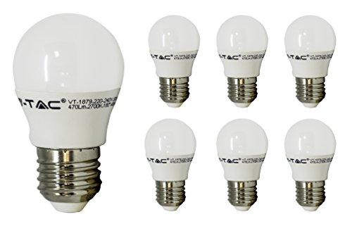 V-TAC ES E27 LED Bulbs, 6W = 40W Golf Ball Mini Globe Screw Light Bulbs, G45, 4000K Day White, Non-Dimmable, 470Lm, LED Light Bulb, Energy Saving Light Bulbs, 6-Pack [Energy Class A+]