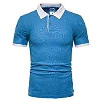 HOUJ Mens Short Sleeve Color Block Slim Fit Plus Size T Shirts Golf Polo Shirt Lake blue US L