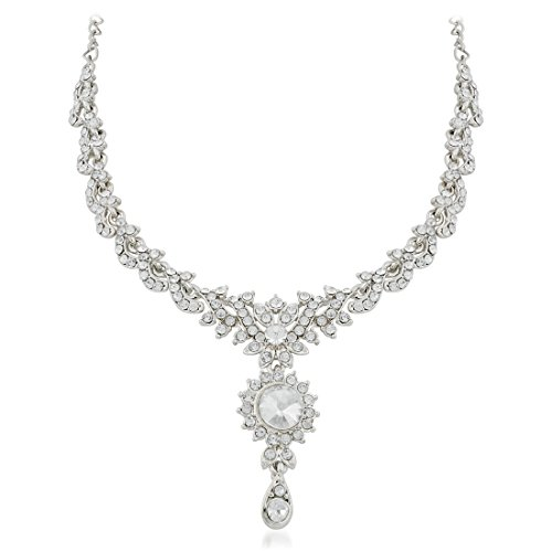 Apara Sparkling Rodium Necklace set
