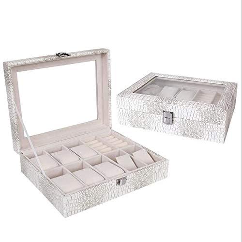 Fostudork Ohrringe Classic Case, Zehn-Uhr-Display Box aus hochwertigem Krokodil PU-Uhr-Halter Handels Mode Praktische Uhrenbox Schmuckschatulle, Weiss
