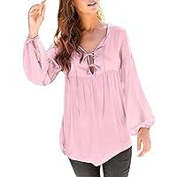 Fymia★★✿✿ Sexy Casual Langarm Bluse Weibliche Einfarbig Einfach Fit Top Shirt Plus Große Größe (S-XXXXXL)