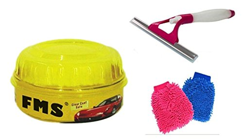 ManeKo Car Cleaning Combo for Maruti Suzuki A-Star All Models & Types -2 Double Sided Large Size Microfiber Hand Glove Duster for Cleaning & Washing Vehicles/Car, Bike, Houseware, FMS Carnauba Vehicle Wax Polish with High Gloss Shine & 2 in 1 Glass Cleaning Wiper with Water Spray Spout  available at amazon for Rs.485