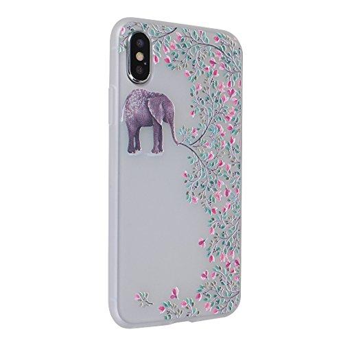 [2 Pezzi] Custodia iPhone X, iPhone 10 Caso Opaco, MeiC Power Custodia Ultra Sottile Silicone Case Molle di TPU Protettiva Custodia Cover Case per Apple iPhone X / iPhone 10 (5,8 Pollici) Cassa in Ril D-Elefante