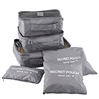 Travel Organisers Packing Cubes, GDSZHS 6 Set Travel Storage Bag Travel Essentials Bag for Travel Waterproof Polyester Storage Luggage Travel Storage Bags Clothes Suitcase (Grey)