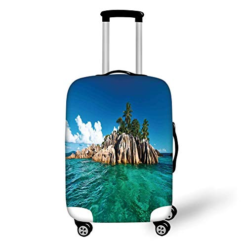 Travel Luggage Cover Suitcase Protector,Island,St. Pierre Island at Seychelles Natural Granite Relaxation Mediterranean,Jade Green Blue Tan,for Travel XL Seychelles Natural