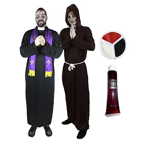 ZOMBIE = PRIESTER + SCHWARZER MÖNCH VERKLEIDUNG = VON ILOVEFANCYDRESS®= DAS PERFEKTE FREUNDE ODER PAARE KOSTÜM FÜR FASCHING HALLOWEEN UND KARNEVAL = ZOMBIE-PRIESTER & ZOMBIE-MÖNCH KOSTÜM = BEIDE KOSTÜME SIND (Besten Kostüme Paar Die Freunde Halloween)