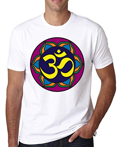 Om Violet Yellow Mandala Hombres Camiseta Blanco Gris Negro Small