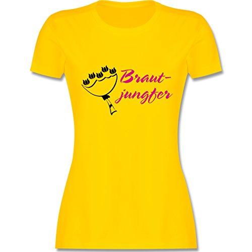 JGA Junggesellinnenabschied - Brautjungfer - tailliertes Premium T-Shirt mit Rundhalsausschnitt für Damen Gelb