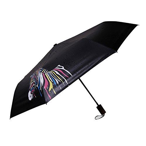 Neuleben Taschenschirm mit Farbwechsel Schwarz Leicht Kompakt Regenschirm Jungen Mädchen (Zebra)