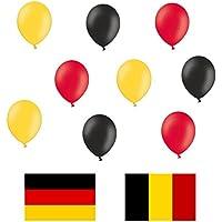 Twist4 50 Premium Luftballons - Ø 28cm Made in Europa - Fußball Länder Deutschland Belgien TOP Qualität (Schwarz/Rot/Gold)