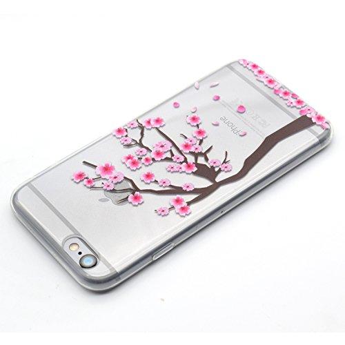 iPhone 7 Hülle,iPhone 7 Schutzhülle Defender Bumper,Ekakashop Ultra dünn Slim Bunte Sonnenblume Muster Modisch Durchsichtig Transparent Weiche Silikon TPU Crystal Gel Case Protective Handyhülle Tasche Kirschbaum