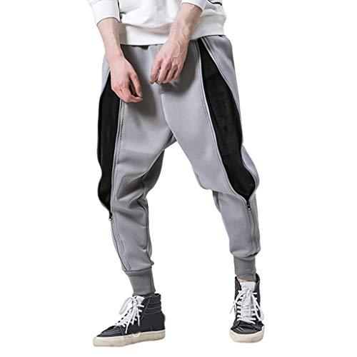 Feinny Hosen Jeans Shorts Hose / 2019 Größe Herbst Herrenmode Persönlichkeit Overalls Nähen Tasche Reißverschluss losen Strahl Hosen Pluderhosen/M-5XL/Grau