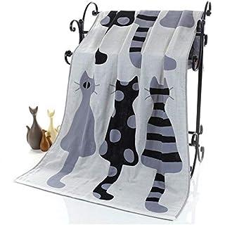 GEZICHTA Badetuch, Cartoon Katze patterncotton Strandtuch Badetuch Super saugfähiger Quick-dryin Handtuch mit Drei Schichten aus Gaze, Grey 1#, Free Size