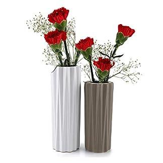 ComSaf Jarrón únicos de Cerámica Pancromático Cerámico Paquete de 2, Flores Plantas Florero Moderno de Porcelana Idea para Sala de Estar, Cocina, Mesa, hogar, Oficina, Boda, o como un Regalo