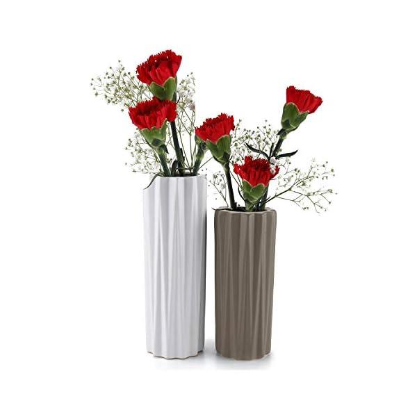 ComSaf Jarrón únicos de Cerámica Blanco Paquete de 2, Flores Plantas Florero Moderno de Porcelana Decoración para Mesa…