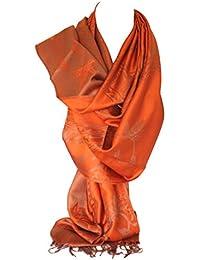 Bullahshah écharpe réversible impression recto-verso pashmina sentir châle  wrap avec des tourbillons floraux complexes 9fc8e73a86a