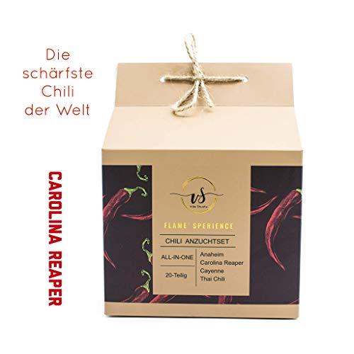 Chili Geschenk-Set ❤️ inkl. der SCHÄRFSTEN CHILI DER WELT - Carolina Reaper - Plant Kit/Anzuchtset/Pflanzset - Jalapeno, Thai Chili Samen - Geschenke für Mann & Frau - Männergeschenke